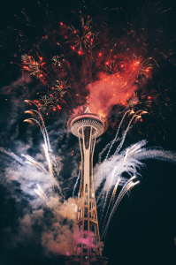 Fireworks around Seattle's Space Needle