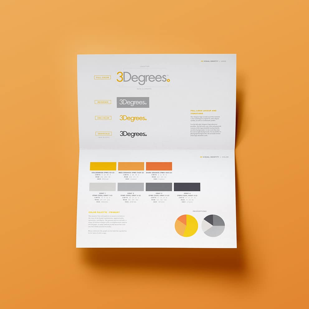 Spread from 3Degrees brand style guide outlining brand colors and logo guidelines